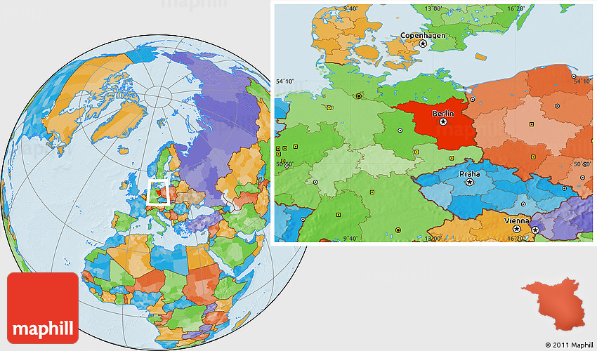 Political Location Map of Brandenburg