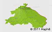 Physical 3D Map of Märkisch-Oderland, cropped outside