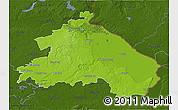 Physical 3D Map of Märkisch-Oderland, darken
