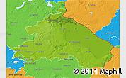 Physical 3D Map of Märkisch-Oderland, political outside