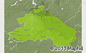 Physical 3D Map of Märkisch-Oderland, semi-desaturated