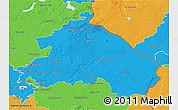 Political 3D Map of Märkisch-Oderland
