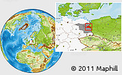 Physical Location Map of Märkisch-Oderland, highlighted country, highlighted grandparent region
