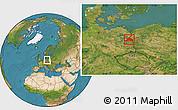Satellite Location Map of Märkisch-Oderland
