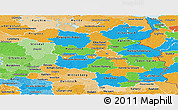 Political Panoramic Map of Brandenburg, political shades outside