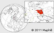 Blank Location Map of Brandenburg
