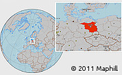 Gray Location Map of Brandenburg, hill shading