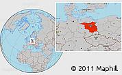 Gray Location Map of Brandenburg