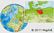 Physical Location Map of Brandenburg