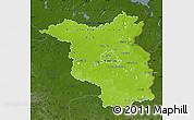 Physical Map of Brandenburg, darken