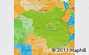 Physical Map of Brandenburg, political outside