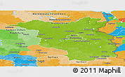 Physical Panoramic Map of Brandenburg, political outside