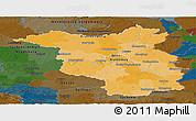 Political Panoramic Map of Brandenburg, darken