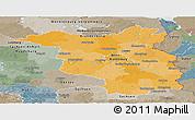 Political Panoramic Map of Brandenburg, semi-desaturated