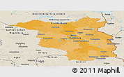 Political Panoramic Map of Brandenburg, shaded relief outside