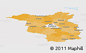 Political Panoramic Map of Brandenburg, single color outside
