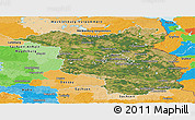Satellite Panoramic Map of Brandenburg, political outside