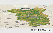 Satellite Panoramic Map of Brandenburg, shaded relief outside