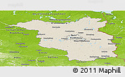Shaded Relief Panoramic Map of Brandenburg, physical outside