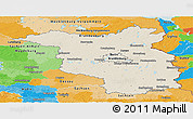 Shaded Relief Panoramic Map of Brandenburg, political outside