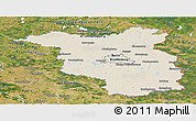 Shaded Relief Panoramic Map of Brandenburg, satellite outside