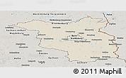 Shaded Relief Panoramic Map of Brandenburg, semi-desaturated