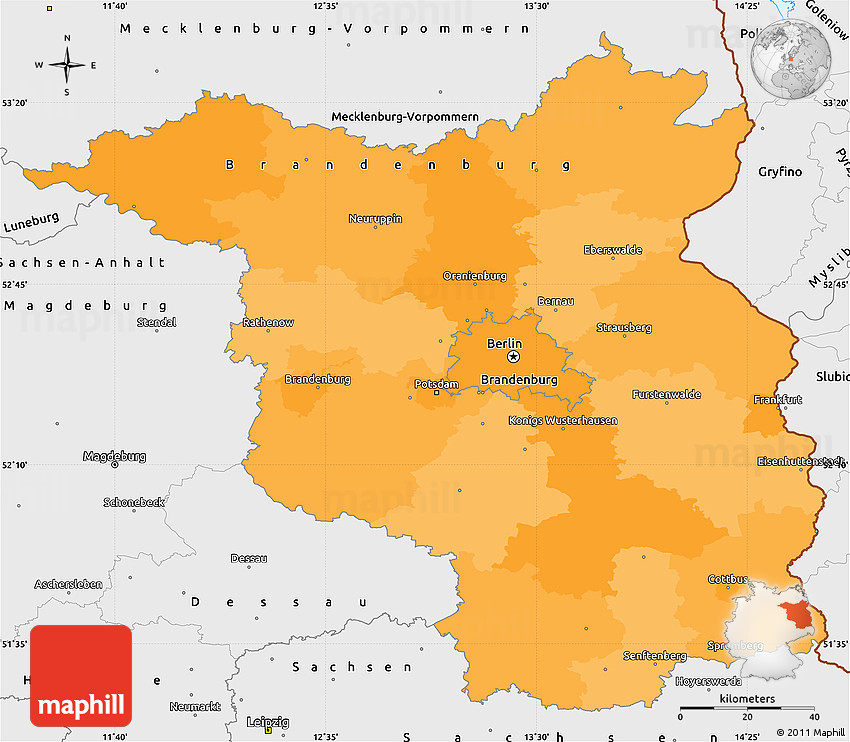 Political Simple Map of Brandenburg single color outside borders