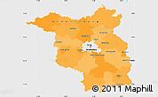 Political Simple Map of Brandenburg, single color outside