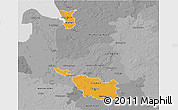 Political 3D Map of Bremen, desaturated