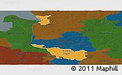 Political Panoramic Map of Bremen, darken