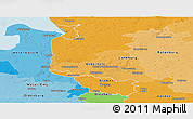 Political Panoramic Map of Bremen, political shades outside