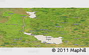 Shaded Relief Panoramic Map of Bremen, satellite outside