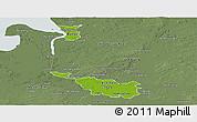 Physical Panoramic Map of Bremen, semi-desaturated