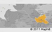 Political 3D Map of Hamburg, desaturated