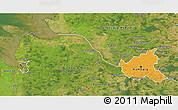 Political 3D Map of Hamburg, satellite outside