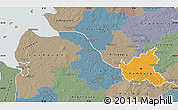 Political Map of Hamburg, semi-desaturated