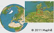 Satellite Location Map of Hamburg