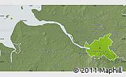 Physical Map of Hamburg, semi-desaturated