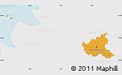 Political Map of Hamburg, single color outside