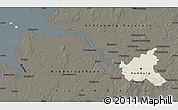 Shaded Relief Map of Hamburg, darken