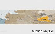 Political Panoramic Map of Hamburg, semi-desaturated