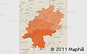 Political Shades 3D Map of Hessen, shaded relief outside