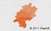 Political Shades 3D Map of Hessen, single color outside