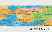 Political Shades Panoramic Map of Darmstadt