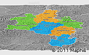 Political Panoramic Map of Kassel, desaturated