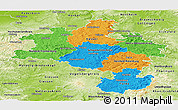 Political Panoramic Map of Kassel, physical outside