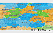 Political Panoramic Map of Kassel, political shades outside