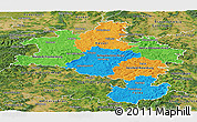 Political Panoramic Map of Kassel, satellite outside