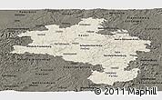 Shaded Relief Panoramic Map of Kassel, darken