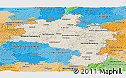 Shaded Relief Panoramic Map of Kassel, political shades outside